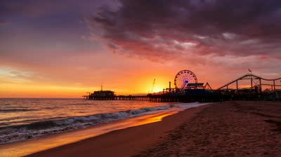 Stock Footage Sunset At Santa Monica Beach Pier California Hd Timelapse